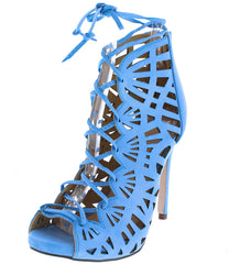 CALAIS LIGHT BLUE CUT OUT LACE UP HEEL - Wholesale Fashion Shoes