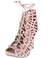 CALAIS LIGHT PINK CUT OUT LACE UP HEEL - Wholesale Fashion Shoes