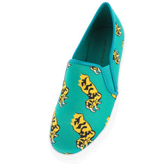 TIGER GREEN  MULTI COLOR VIBRANT TIGER PAW SLIP ON SNEAKER FLAT - Wholesale Fashion Shoes