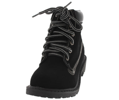 Timber002km Black Lace Up Kids Boot - Wholesale Fashion Shoes