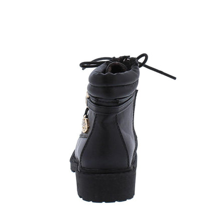 Timber160km Black Ankle Wrap Gold Rhinestone Lug Kids Boot - Wholesale Fashion Shoes