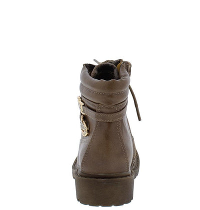 Timber160km Khaki Ankle Wrap Gold Rhinestone Lug Kids Boot - Wholesale Fashion Shoes