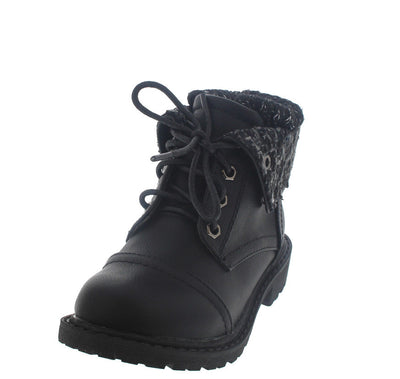 Timber170ks Black Sweater Lace Up Infant Boot - Wholesale Fashion Shoes
