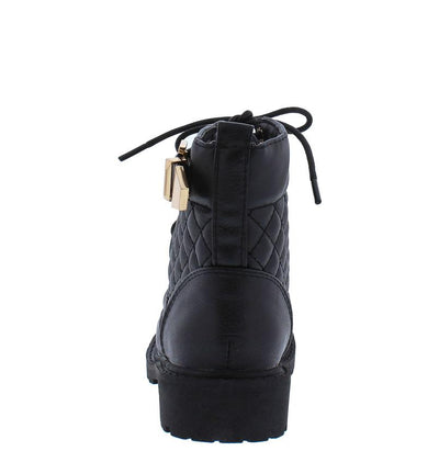 Timber180km Black Quilted Gold Buckle Accent Lugg Kids Boot - Wholesale Fashion Shoes