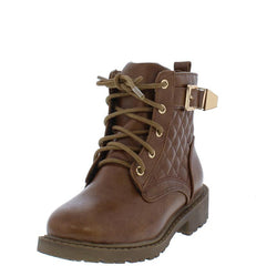 TIMBER180KM BROWN QUILTED GOLD BUCKLE ACCENT LUGG KIDS BOOT - Wholesale Fashion Shoes
