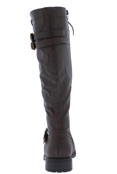 Timberly65 Brown Multi Buckle Lace Up Knee High Boot - Wholesale Fashion Shoes