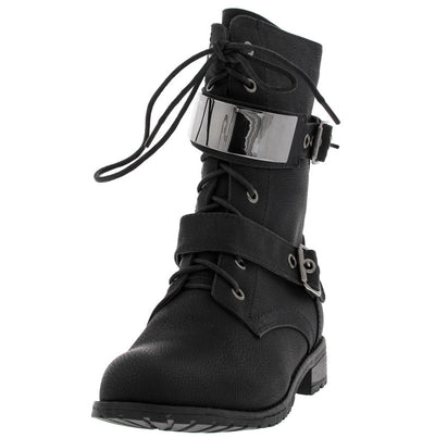Timberly95 Black Wet Metal Plate Combat Boot - Wholesale Fashion Shoes