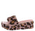 Claudia092 Blush Faux Fur Leopard Open Toe Mule Wedge