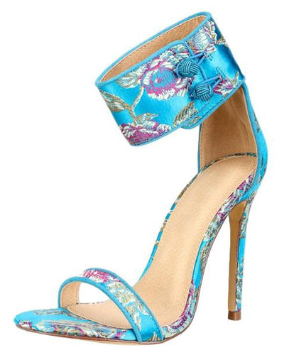 Grace119 Blue Printed Open Toe Button Ankle Band Heel - Wholesale Fashion Shoes