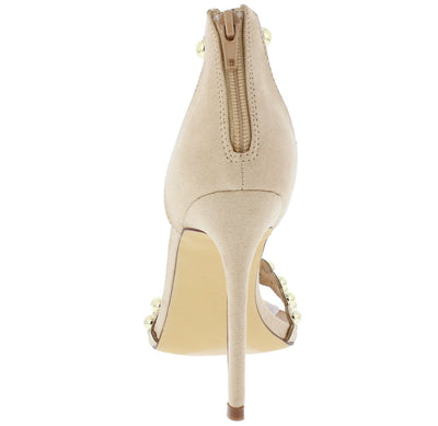 Ava054 Nude Pink Open Toe Circle Stud T Strap Heel - Wholesale Fashion Shoes