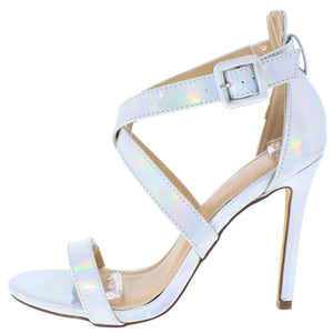 c3ebed3b7ad Penelope163 Hologram Cross Strap Open Toe Stiletto Heel - Wholesale Fashion  Shoes