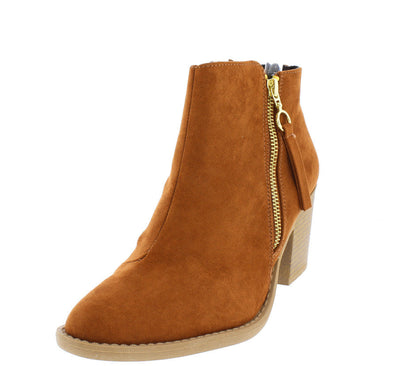 Tobin28 Rust Almond Toe Side Zip Ankle Boot - Wholesale Fashion Shoes