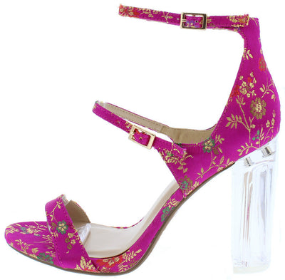 Toodeea Fuchsia Multi Lucite Brocade Strappy Heel - Wholesale Fashion Shoes