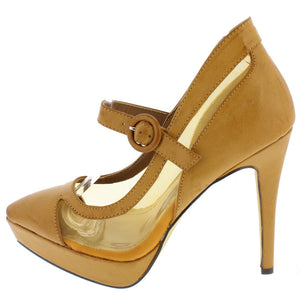 99e00764a TOO HALO TAN DISTRESSED POINTED TOE DUAL TONE SINGLE STRAP PLATFORM HEEL - Wholesale  Fashion Shoes