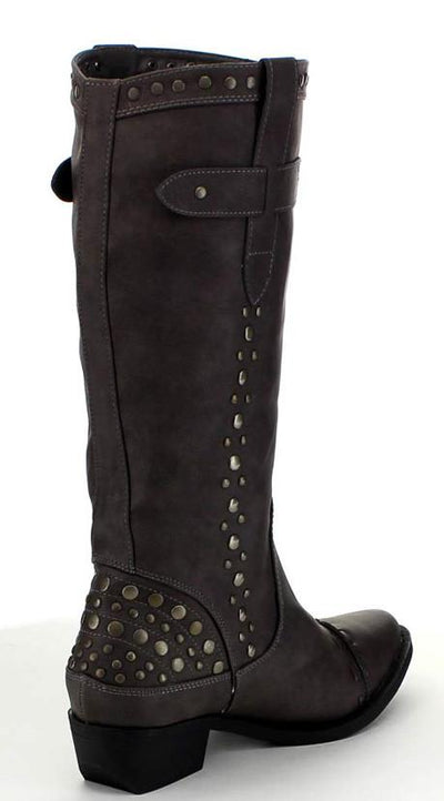 Topaz2 Grey Thick Stitch Stud Embellished Boot - Wholesale Fashion Shoes