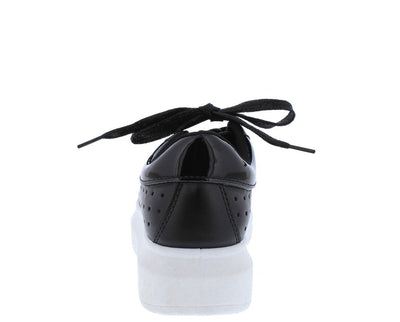 Tori02 Black Perforated Lace Up Sneaker Flat - Wholesale Fashion Shoes