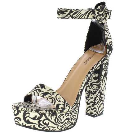 Tournament78m Black Damask Open Toe Ankle Strap Platform Heel - Wholesale Fashion Shoes