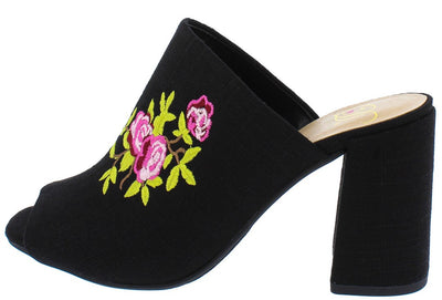 Trade Black Pink Green Embroidered Flower Mule Chunky Heel - Wholesale Fashion Shoes
