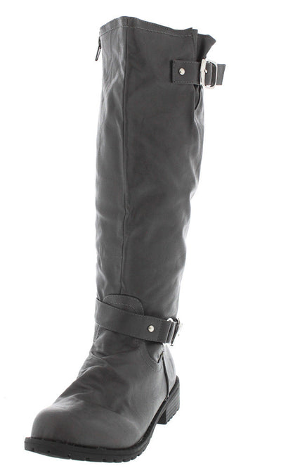 Travis1 Grey Distressed Moto Boot - Wholesale Fashion Shoes