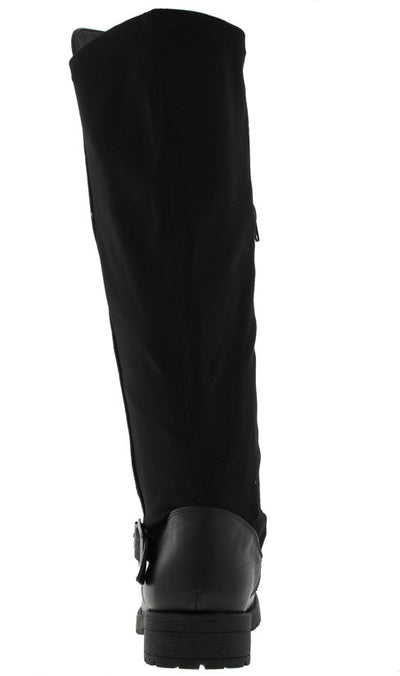 Logan09 Black Quilted Knee High Riding Boot - Wholesale Fashion Shoes