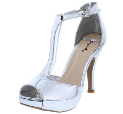 Trench372 Silver Mirror Peep Toe T Strap Short Heel - Wholesale Fashion Shoes