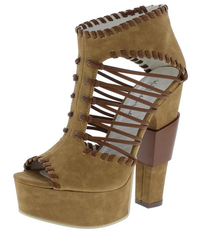 Ariel064 Tan Peep Toe Strappy Stitch Platform Heel - Wholesale Fashion Shoes