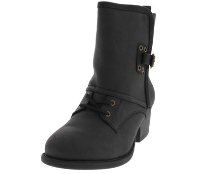 Trevor52 Black Distressed Ankle Boot - Wholesale Fashion Shoes