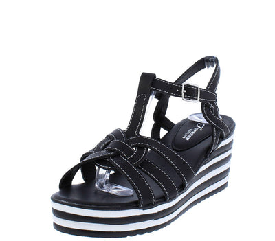 Trip6 Black Woven Open Toe Slingback Striped Wedge - Wholesale Fashion Shoes