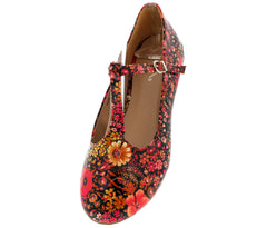 TRISS23 FLORAL PATENT MARY JANE FLAT - Wholesale Fashion Shoes