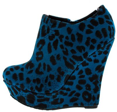 Trouble Blue Leopard Wedge Boot - Wholesale Fashion Shoes