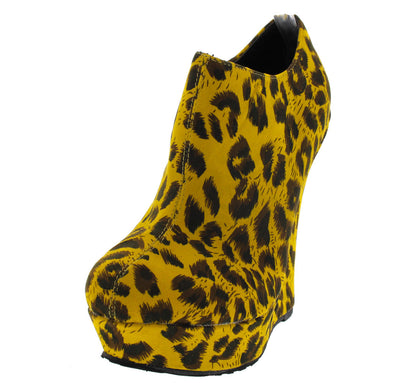 Trouble Mustard Leopard Wedge Boot - Wholesale Fashion Shoes