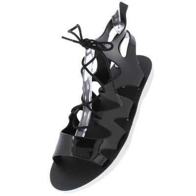 Truda01v Black Cut Out Ghillie Lace Up Jelly Sandal - Wholesale Fashion Shoes