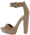 Tudor Taupe Open Toe Ankle Strap Platform Tall Block Heel - Wholesale Fashion Shoes