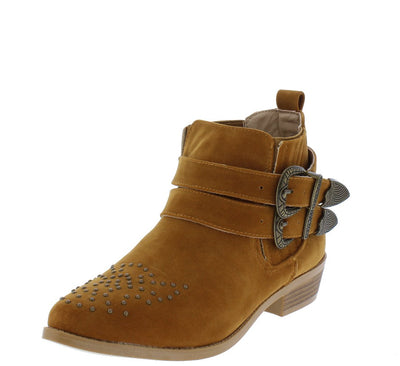 Tulip2 Camel Suede Studded Double Buckle Ankle Boot - Wholesale Fashion Shoes