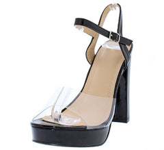 ELY085 BLACK PAT WOMEN'S HEEL - Wholesale Fashion Shoes