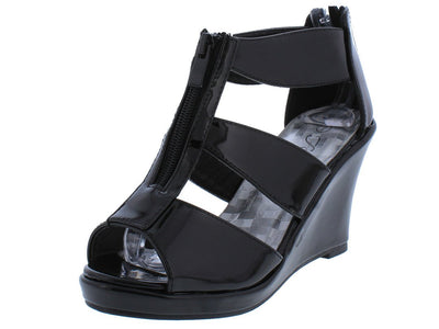 Tunas09 Black Pat Peep Toe Front Zip Multi Strap Wedge - Wholesale Fashion Shoes