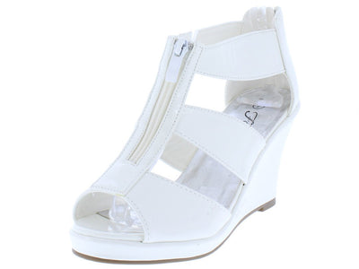 Tunas09 White Pat Peep Toe Front Zip Multi Strap Wedge - Wholesale Fashion Shoes