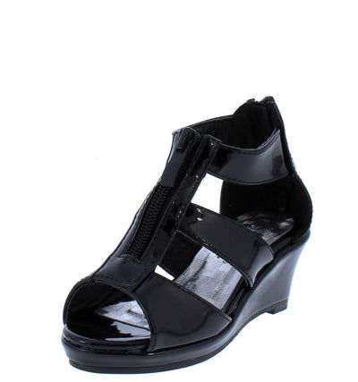 Tunas09K Black Pat Peep Toe Zip Front Tri Strap Kids Wedge - Wholesale Fashion Shoes