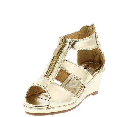 Tunas09K Gold Peep Toe Zip Front Tri Strap Kids Wedge - Wholesale Fashion Shoes