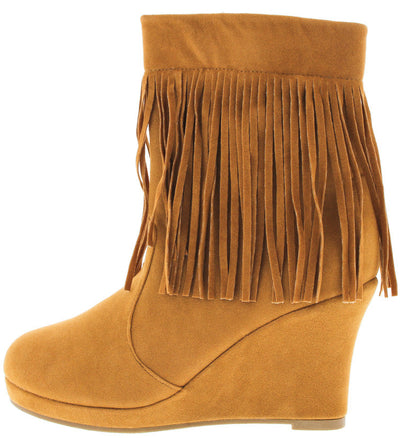 Tunas94 Tan Fringe Wedge Boot - Wholesale Fashion Shoes