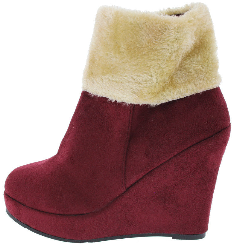 Tunas95 Burgundy Faux Fur Wedge Boots From 1288 2788