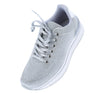 Tweed05 Silver Shimmer Round Toe Lace Up Sneaker Flat - Wholesale Fashion Shoes