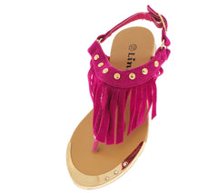 TYLER27K FUCHSIA FRINGE KIDS SANDAL - Wholesale Fashion Shoes