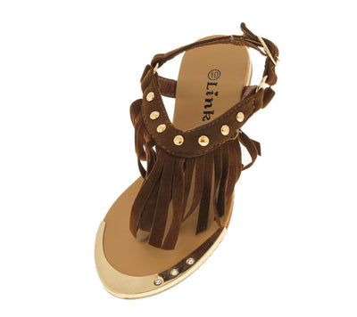 Tyler27k Brown Fringe Kids Sandal - Wholesale Fashion Shoes