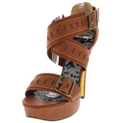 VIVIAN16 COGNAC HEEL - Wholesale Fashion Shoes