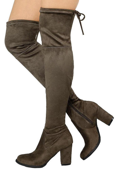 Ulan Taupe Over the Knee Drawstring Boot - Wholesale Fashion Shoes