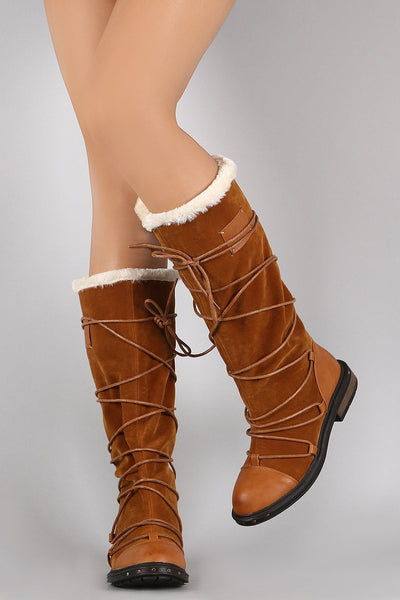 Ultra03 Camel Pu Multi Wrap Fur Lined Boot - Wholesale Fashion Shoes