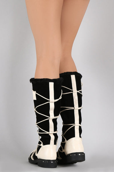 Ultra03 White Pu Multi Wrap Fur Lined Boot - Wholesale Fashion Shoes