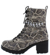 Uoodoo Snake Rhinestone Chain Combat Boot - Wholesale Fashion Shoes