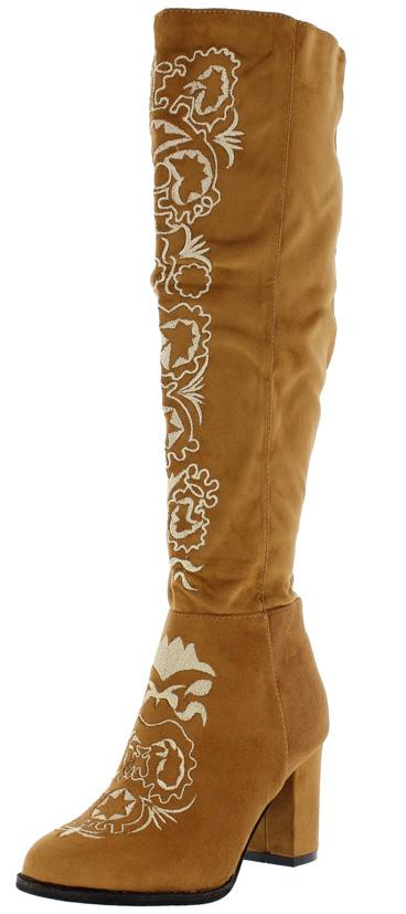 Ukraine Camel Embroidered Knee High Boots - Wholesale Fashion Shoes